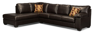 Morty 2-Piece Bonded Leather Left-Facing Sofa Bed Sectional - Brown