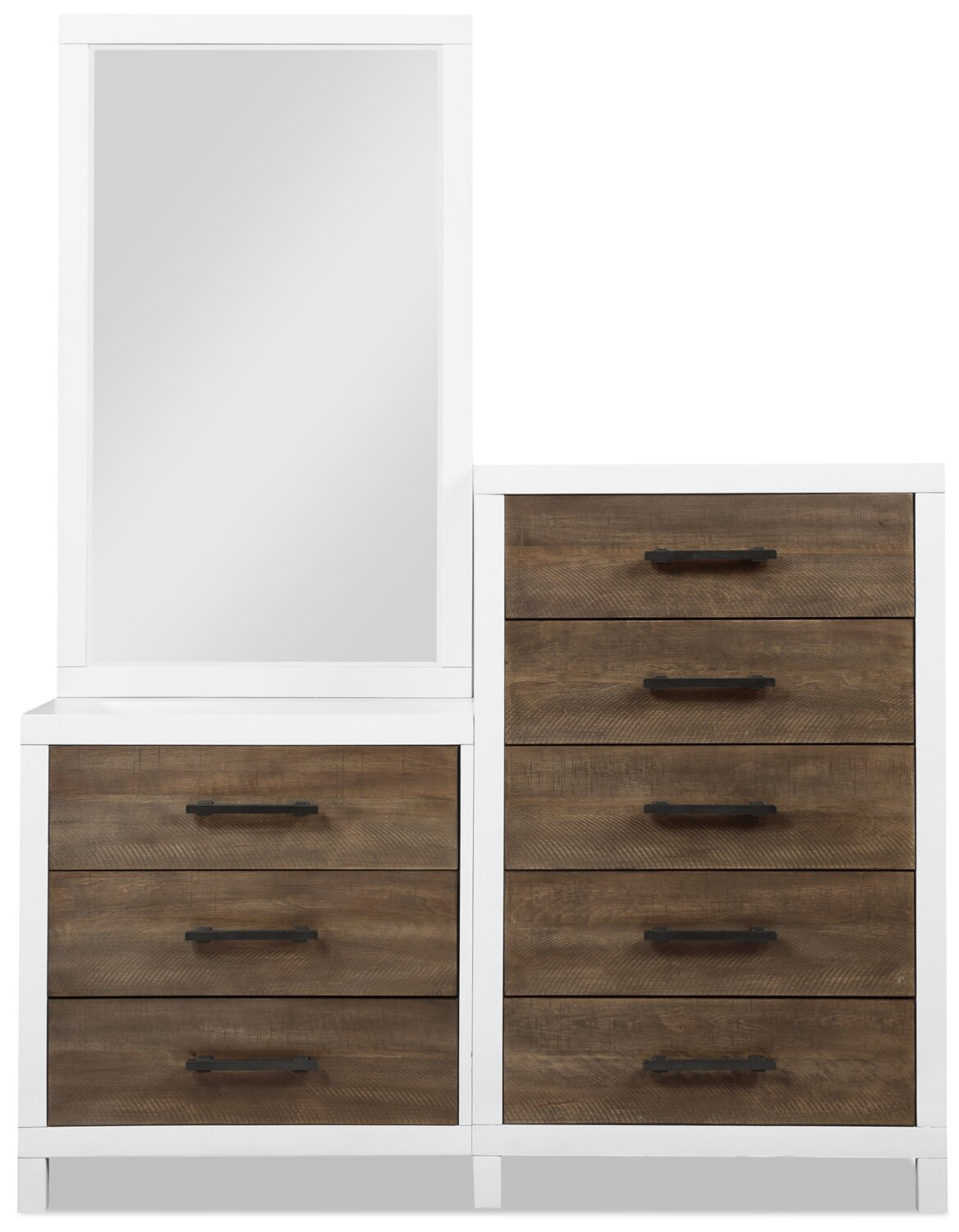 Reese Chest With Standing Mirror White And Brown The Brick