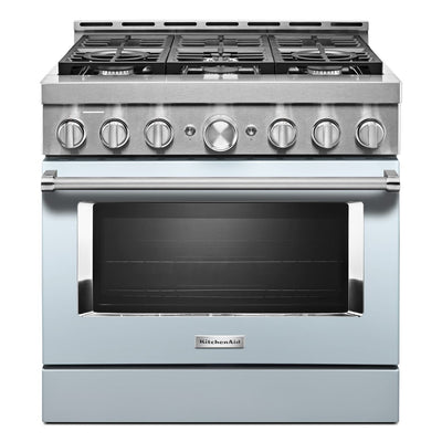 KitchenAid 36'' Smart Commercial-Style Gas Range - KFGC506JMB - Gas Range in Misty Blue