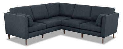 Selma 6-Piece Linen-Look Fabric Modular Sectional - Dark Navy - Modern style Sectional in Navy Plywood, Solid Woods