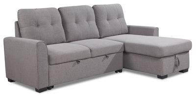 Carter 2-Piece Right-Facing Linen-Look Fabric Sleeper Sectional - Solis Grey - Sleeper Sectional in Solis Grey