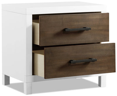 Reese Nightstand - White and Brown | Table de nuit Reese - blanche et brune | REESW2NS