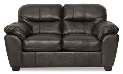 Cass Leather-Look Fabric Loveseat - Black - Contemporary style Loveseat in Black Alder, Oriented Strand Board (OSB)