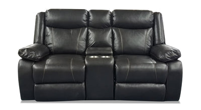 Sammy Leather-Look Fabric Reclining Loveseat - Blackberry