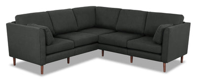 Selma 6-Piece Linen-Look Fabric Modular Sectional - Charcoal - Modern style Sectional in Charcoal Plywood, Solid Woods