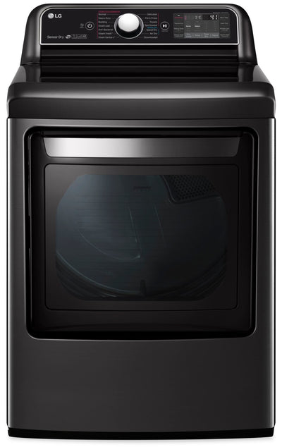 LG 7.3 Cu. Ft. TurboSteam™ Dryer with EasyLoad™ Dual-Opening Door - DLEX7900BE - Dryer in Black Stainless Steel