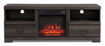 "Asher 60"" TV Stand with Log Fireplace"