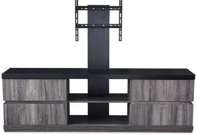 "Rhys 70"" TV Stand with TV Mount - Contemporary style TV Stand in Distressed grey Glass, Medium Density Fibreboard (MDF)"