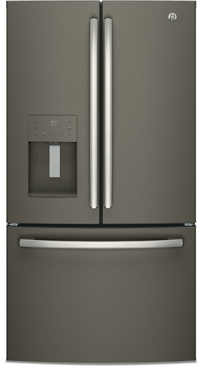 GE 25.5 Cu. Ft. French-Door Refrigerator with Exterior Ice and Water - GFE26JMMES - Refrigerator in Slate