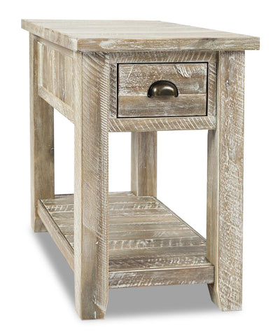 Cody Chairside Table  - Rustic, Industrial style End Table in Washed grey Acacia