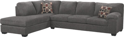 Morty 2-Piece Chenille Left-Facing Sectional - Grey|Sofa sectionnel de gauche Morty 2 pièces en chenille - gris|MORTGLS2