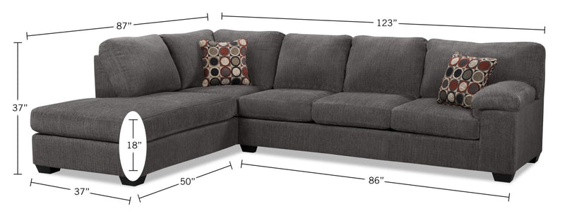 The Brick Morty 2-Piece Chenille Left-Facing Sectional - Grey