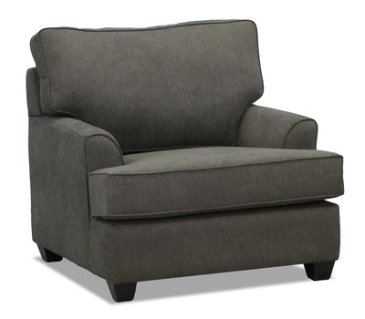 Jersey Linen-Look Fabric Chair - Fragalistic Charcoal