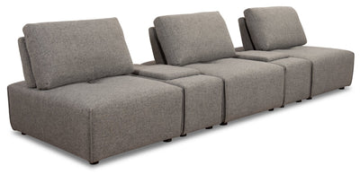 Modera 5-Piece Linen-Look Fabric Modular Sectional with 2 Consoles - Grey