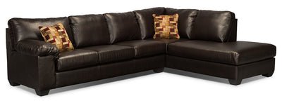 Morty 2-Piece Bonded Leather Right-Facing Sofa Bed Sectional - Brown