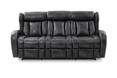 Rayder Leather-Look Fabric Power Reclining Sofa with Fold-Down Console - Slate