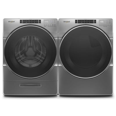 Whirlpool 5.8 Front-Load Washer and 7.4 Cu. Ft. Gas Dryer with Steam – Chrome Shadow  | Laveuse à chargement frontal 5,8 pi³ et sécheuse à gaz 7,4 pi³ Whirlpool avec vapeur - ombre chrome  | WHFL86LG