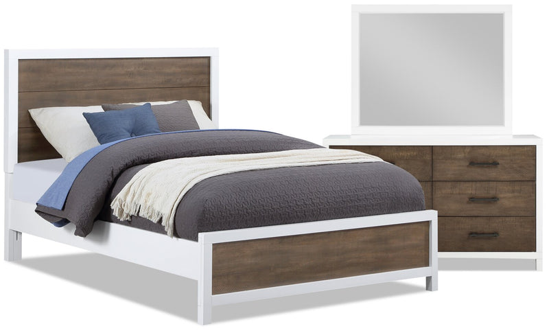 Reese 5-Piece Full Bedroom Package - White and Brown - Bedroom Package