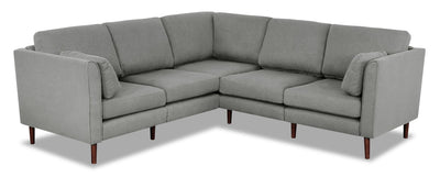Selma 6-Piece Linen-Look Fabric Modular Sectional - Grey - Modern style Sectional in Grey Plywood, Solid Woods