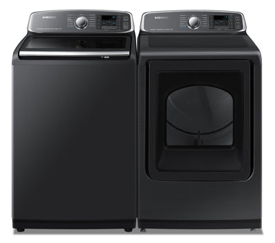Samsung 6.0 Cu. Ft. Top-Load Washer and 7.4 Cu. Ft. Electric Dryer - Black Stainless Steel - Laundry Set in Black Stainless Steel