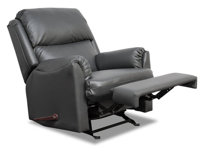 Drogba Leather-Look Fabric Recliner - Grey | Fauteuil inclinable Drogba en tissu d'apparence cuir - gris | DROGGYRR