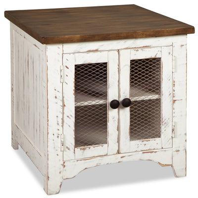 Benjy End Table  - Rustic style End Table in Distressed white natural pine