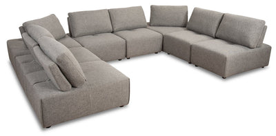 Modera 8-Piece Linen-Look Fabric Modular Sectional - Grey - Modern style Sectional in Grey Pine, Plywood