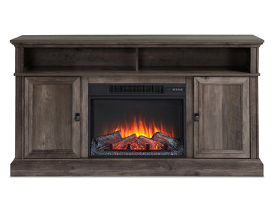 "Ollie 60"" TV Stand with Log Fireplace"