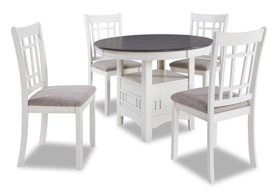 Dena 5-Piece Dining Package - White and Grey - Dining Room Set
