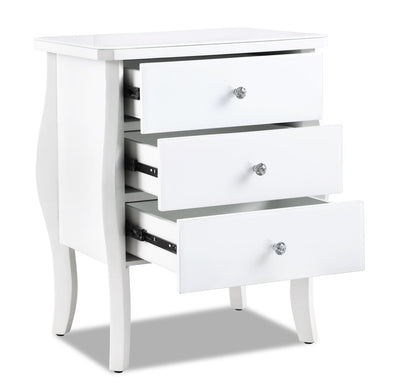 Dawn Nightstand - White - Glam style Nightstand in White Solid Woods