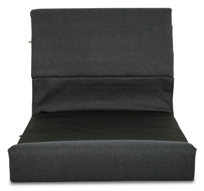 Selma Linen-Look Fabric Modular Armless Seat with Backrest - Charcoal