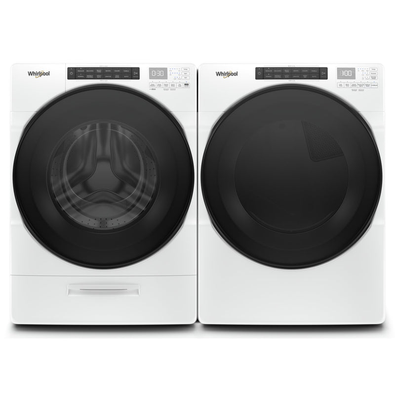 Whirlpool 5.2 Cu. Ft. Front-Load Washer and 7.4 Cu. Ft. Gas Dryer with Steam – White - Laundry Set in White
