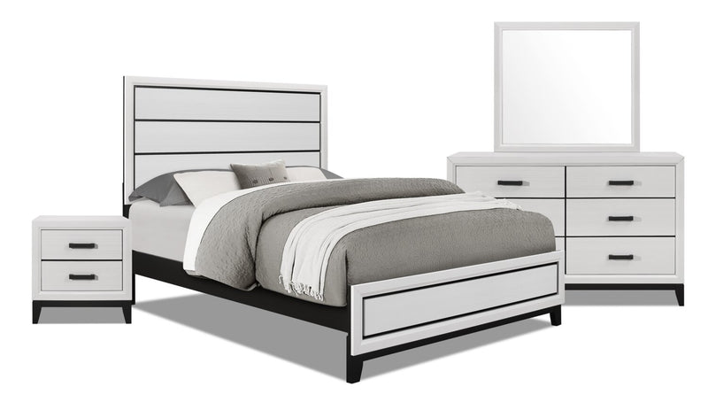 Kate 6-Piece Queen Bedroom Package - White | Ensemble de chambre à coucher Kate 6 pièces avec grand lit - blanc | KATEWQP6