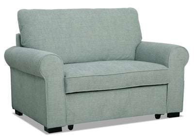 Randal Fabric Chair with Pull-Out Ottoman - Seafoam - Traditional style Chair in Seafoam Plywood, Solid Hardwoods