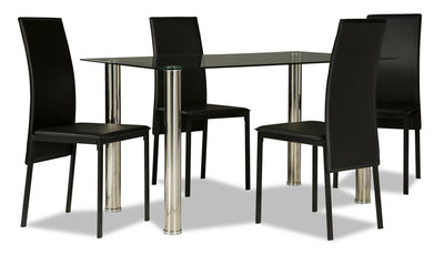 Dane 5-Piece Dining Set - Black - Modern style Dining Room Set in Black Glass