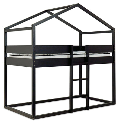 Alva Full-Size House-Shaped Loft Bed - Contemporary style Bed in Black Solid Woods
