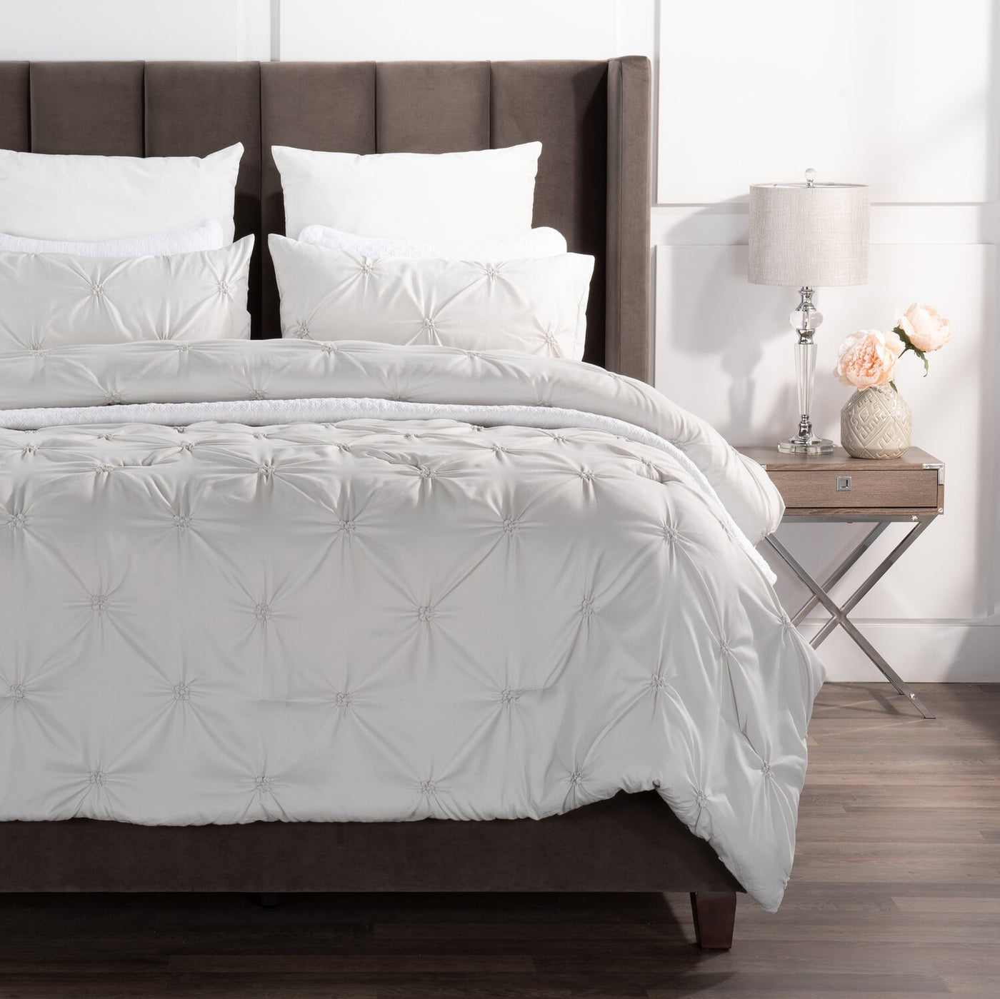 Brianna Light Grey 3 Piece Full Queen Comforter Set The Brick