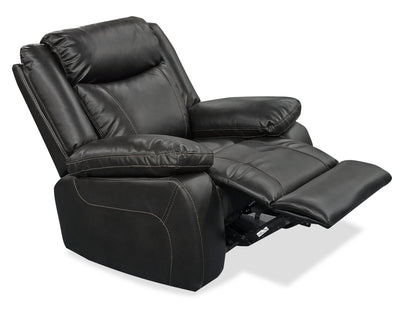Sammy Leather-Look Fabric Recliner- Blackberry