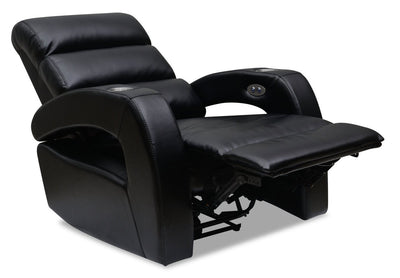 Carly Leather-Look Fabric Power Recliner - Tanner Black | Fauteuil à inclinaison électrique Carly en tissu d'apparence cuir - noir Tanner | CARLYGRC