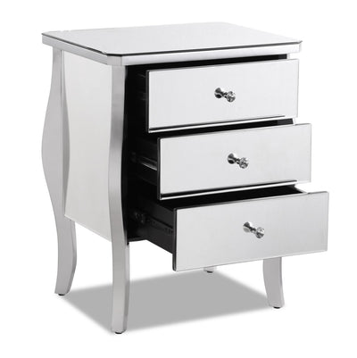 Dawn Nightstand - Silver - Glam style Nightstand in Silver Solid Woods