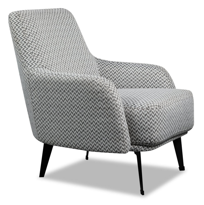 Monroe Linen-Look Fabric Accent Chair - Grey