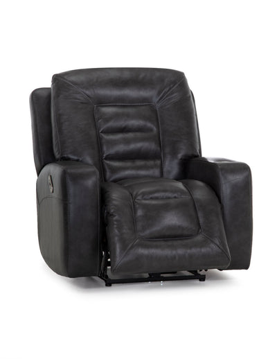 Leather-Look Fabric Power Rocker Recliner - Grey - Contemporary style Accent Chair in Grey Plywood