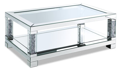 Berni Coffee Table  - Glam style Coffee Table in Silver Medium Density Fibreboard (MDF)