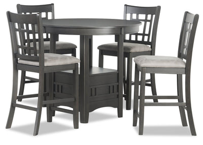 Dena 5-Piece Counter-Height Dining Package - Grey-Brown - Dining Room Set