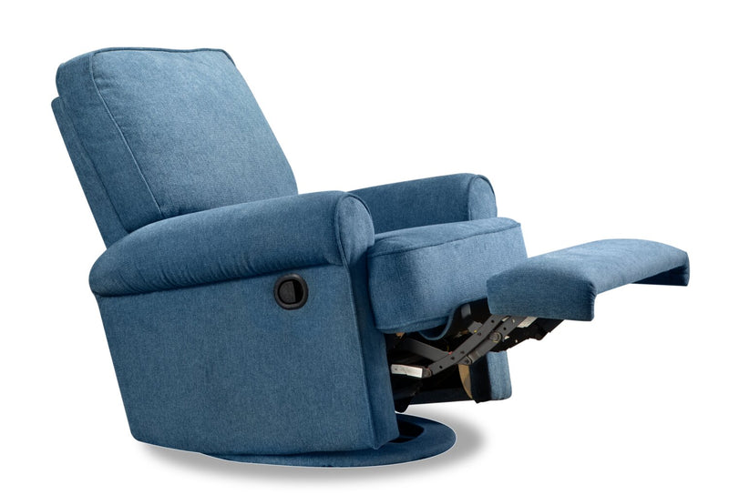 Bevin Chenille Swivel Accent Glider Recliner - Blue - Contemporary style Accent Chair in Blue Plywood, Solid Woods