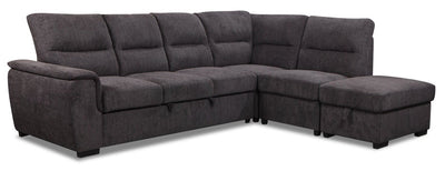 Nevada 4-Piece Chenille Right-Facing Sleeper Sectional - Charcoal