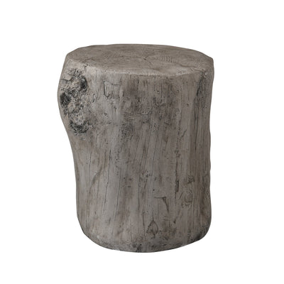 Jordy Ottoman Accent Table – Silver  - Rustic style End Table in Silver Cement