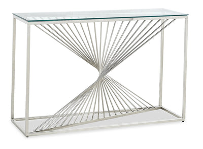 Andreas Sofa Table - Contemporary, Modern style Sofa Table in Chrome Metal, Glass