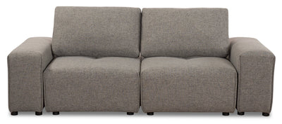 Modera Linen-Look Fabric Modular Loveseat - Grey - Modern style Loveseat in Grey Pine, Plywood