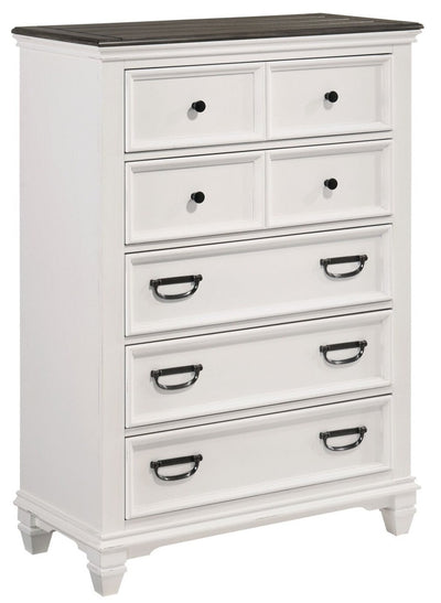 Emma Chest - Country style Chest in White/Grey Engineered Wood